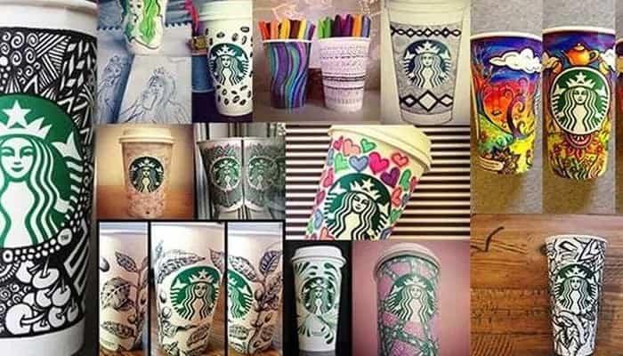 Kubki Starbucks malowane przez fanów